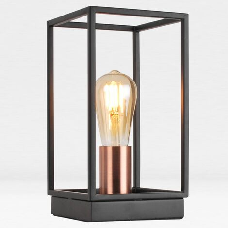 Matt Black With Brushed Copper Detail Table Light