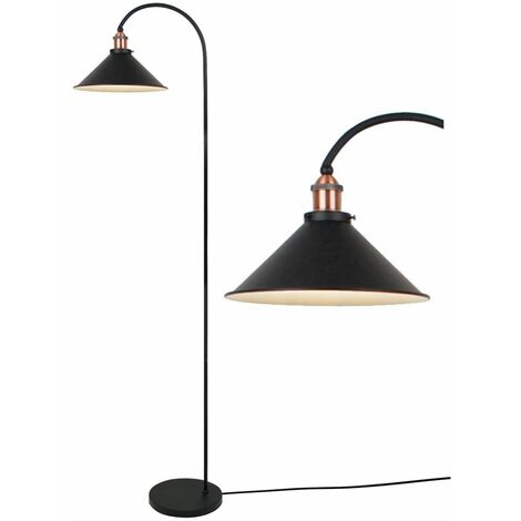 Matt Black With Brushed Copper Floor Light
