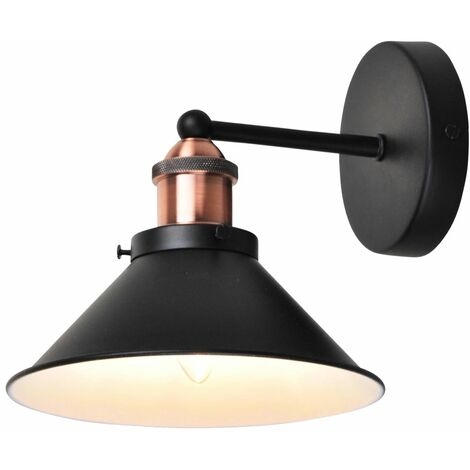 Matt Black With Brushed Copper Wall Light
