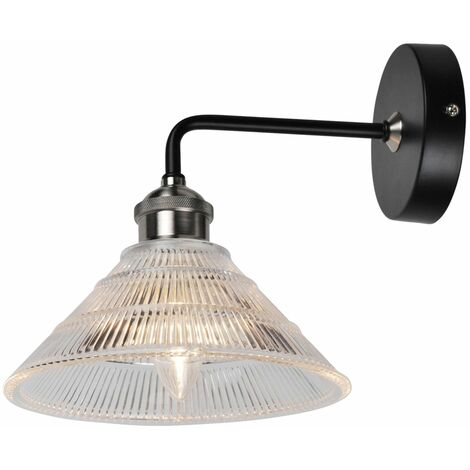 Matt Black With Fluted Glass Wall Light