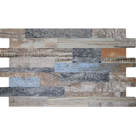 Matt Blue Porcelain Mix Split Face Wood Wall Tiles - 1SQM