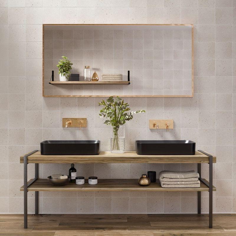 Matt Dollymixx Beige Shroom Terrazzo Effect Porcelain Tiles - 1SQM - (L)  185 (W) 185