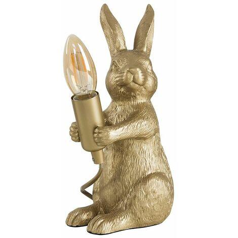Matt Gold Painted Rabbit Table Lamp - 2W LED Filament Bulb 2700K Warm White