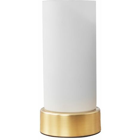 Matt Gold Touch Table Lamp With Glass Shade - Add LED Bulb