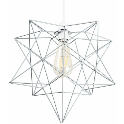 Matt Grey Geometric Star Ceiling Pendant Light Shade - 4W LED Filament Bulb Warm White