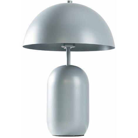 Matt Grey Metal Table Lamp + Curved Shade + 4W LED Bulb Warm White