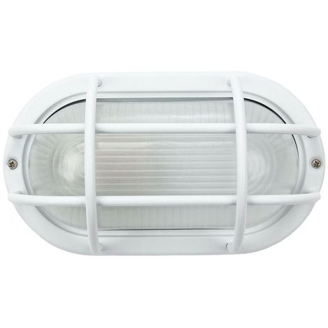Matt White Cast Aluminium Outdoor Oval Industrial Style Bulkhead Light Fitting by Happy Homewares