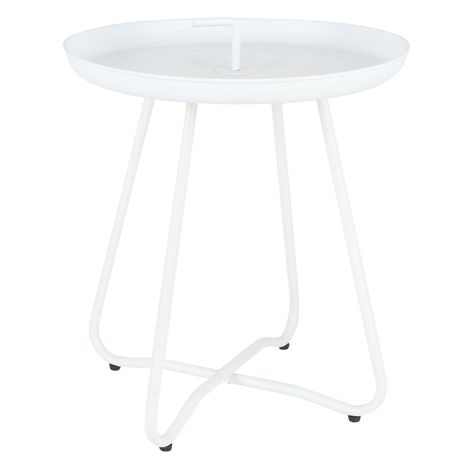 Matt White Metal Side Table with Handle
