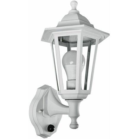 Matt White Outdoor Ip44 Wall Light + Dusk To Dawn Sensor + 6W LED Gls Bulb - Warm White - White