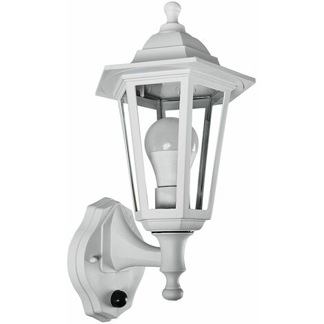 Matt White Outdoor Security Ip44 Rated Wall Light Dusk To Dawn Sensor 15W LED Gls Bulb - Warm White - White