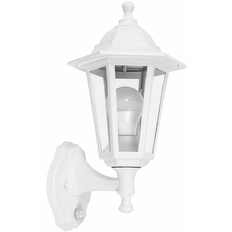 Matt White Outdoor Security Ip44 Rated Wall Light Pir Motion Sensor 15W LED Gls Bulb - Cool White - White