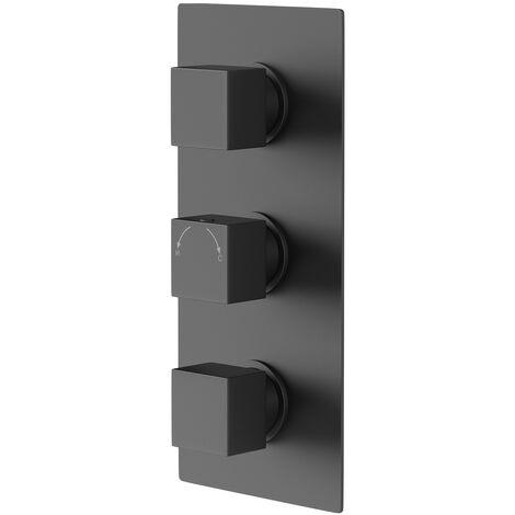 Matte Black Concealed Square Triple Thermostatic Shower Valve