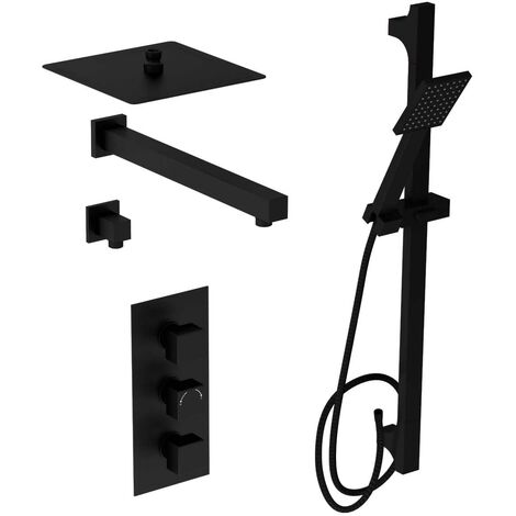 Matte Black Concealed Square Triple Thermostatic Shower Valve With Square Fixed Head & Square Slide Rail Kit