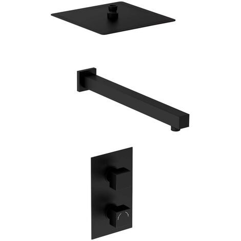 Matte Black Concealed Square Twin Thermostatic Shower Valve With Square Fixed Head & Wall Arm