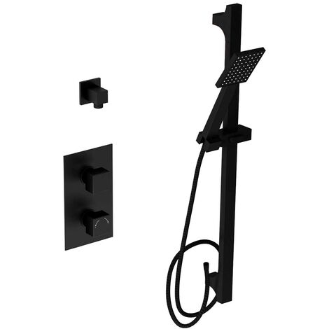 Matte Black Concealed Square Twin Thermostatic Shower Valve With Square Slide Rail Kit & Square Elbow