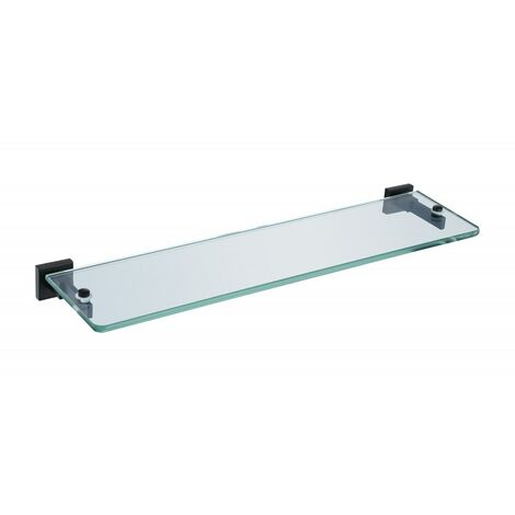 Matte Black Glass Shelf Modern With Brackets