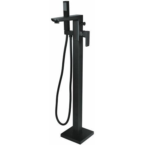 Matte Black Square Modern Freestanding Bath Shower Mixer Tap
