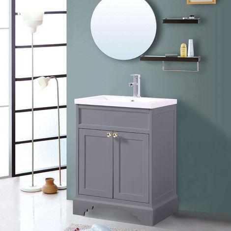 Matte Grey Floor Standing Bathroom Furniture Vanity Unit Cabinet with Basin 600mm