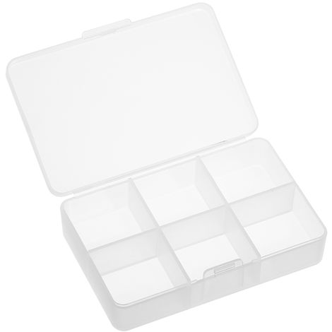 Matte Plastic Clear Home Rectangle 6 Compartments Medicine Pill Holder