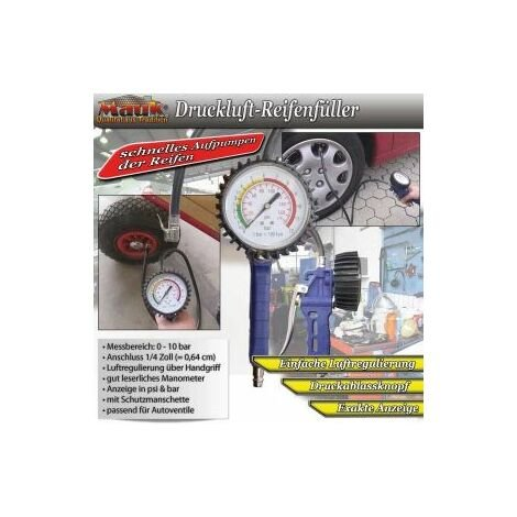 Mauk Druckluft Reifenfüller Reifenfüllpistole Luftdruckprüfer mit Manometer 10 bar