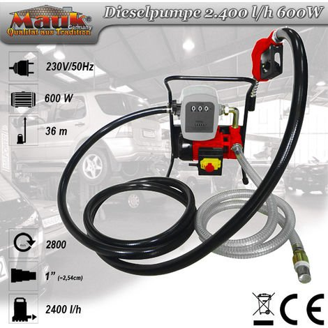 Mauk Heizöl- Dieselpumpe Absaugpumpe Komplett Set mit Zählwerk, Schläuchen und Zapfpistole - 600 W, 2400 l/h