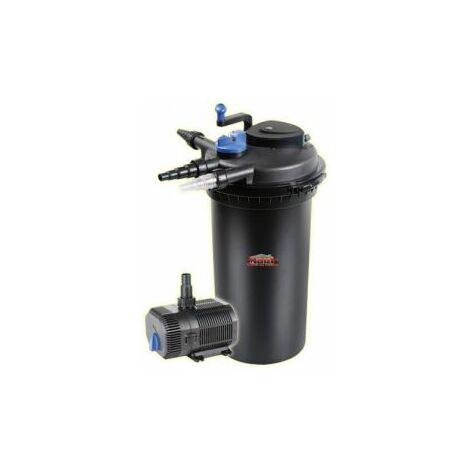 Mauk XXL UVC Teichdruckfilter Teichklärer Set 18 W 10000 l/h mit Pumpe 90 W 5800 l/h