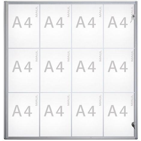 MAUL – Vitrine d'affichage, profondeur extérieure 27 mm - hauteur extérieure 963 mm, 12 x DIN A4