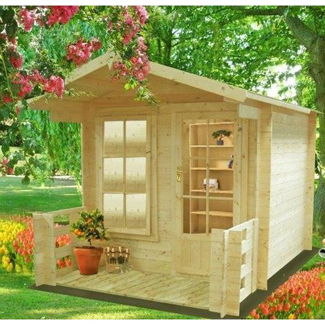 Maulden with veranda Log Cabin Home Office Garden Room Approx 9 x 9 Feet