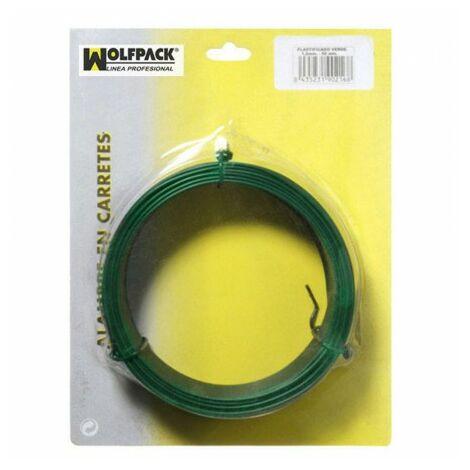 Maurer 1010086 Rouleau de 50 m de fil de fer plastifié Vert 1,2 mm