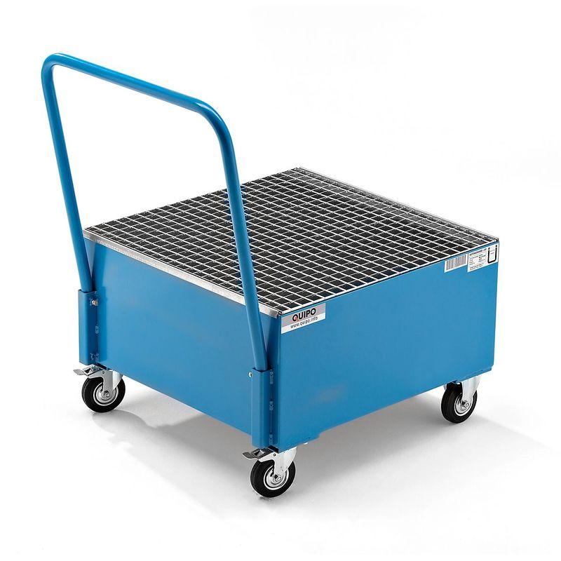 QUIPO Cuve de rétention mobile en tôle d'acier, L x l 800 x 800 mm, 1 fût de 200 l debout peinture époxy bleu RAL 5012 - Coloris: Bleu clair RAL 5012