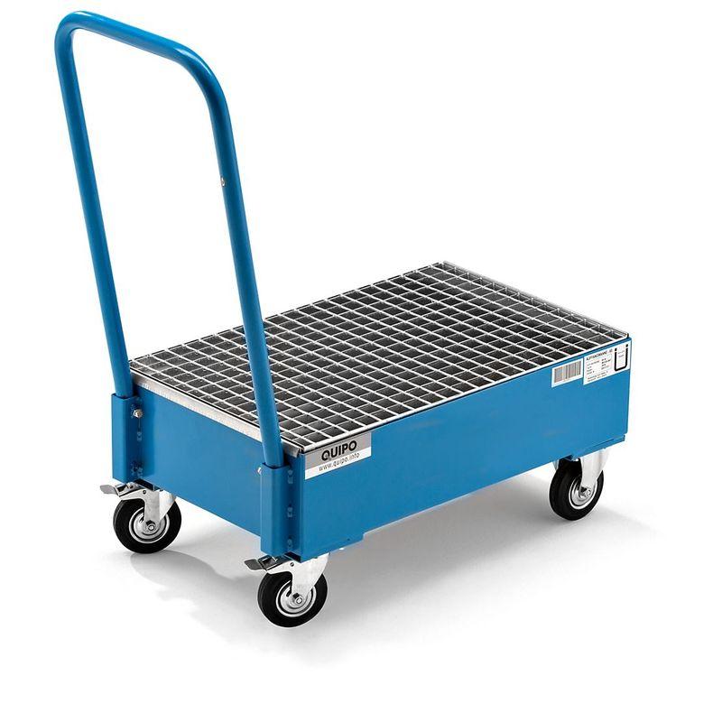 QUIPO Cuve de rétention mobile en tôle d'acier, L x l 800 x 500 mm, 2 fûts de 60 l debout peinture époxy bleu RAL 5012 - Coloris: Bleu clair RAL 5012