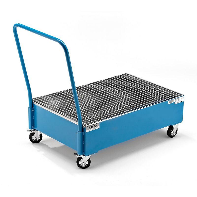 QUIPO Cuve de rétention mobile en tôle d'acier, L x l 1200 x 800 mm, 2 fûts de 200 l debout peinture époxy bleu RAL 5012 - Coloris: Bleu clair RAL