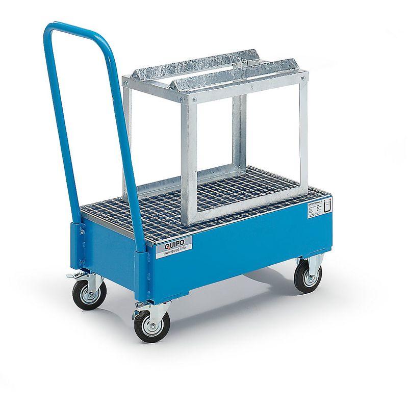 QUIPO Cuve de rétention mobile en tôle d'acier, L x l 800 x 500 mm, 1 fût de 60 l couchés peinture époxy bleu RAL 5012 - Coloris: Bleu clair RAL 5012