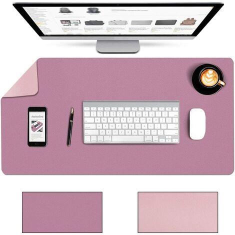 Mauspad Groß PU Leder Doppelseitige Schreibtischunterlage 80 x 40cm Multifunktionales Office Mausepad wasserdichte Zweiseitig Nutzbar Doppelte Farbe Ideal für Büro und Zuhause Lila Rosa
