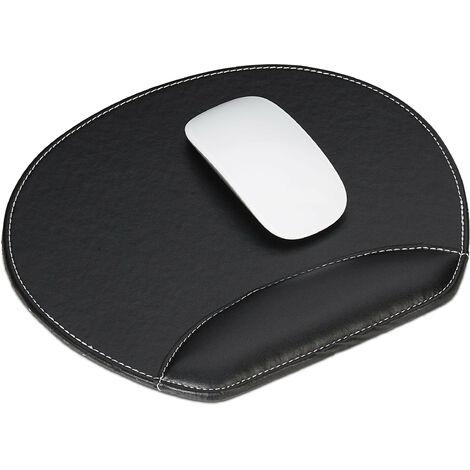 Mauspad, Kunstleder, ergonomisch, Mausuntersetzer mit Handgelenkauflage, für Computer & Laptop, rund, schwarz