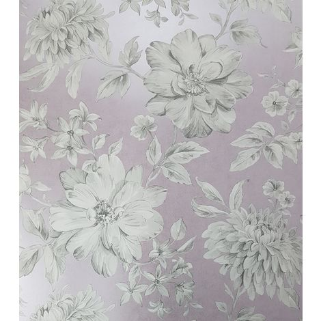 Mauve Floral Wallpaper Purple Grey Flowers Pearlescent Metallic Crown Lucia