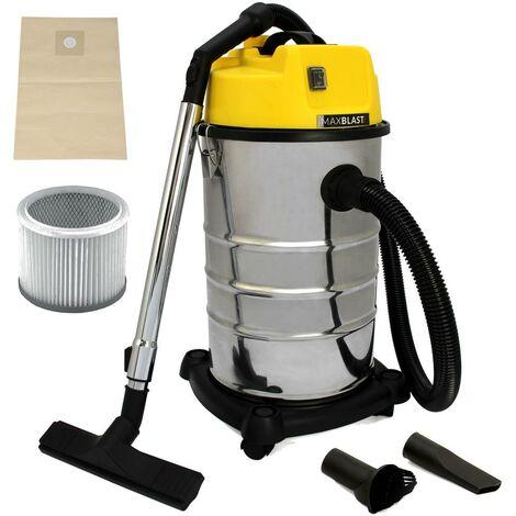 MAXBLAST Aspirateur Industriel de 30 Litres 1400W en Acier Inoxydable et Accessoires, Aspirateur Sec & Humide, Sac à poussière Offert