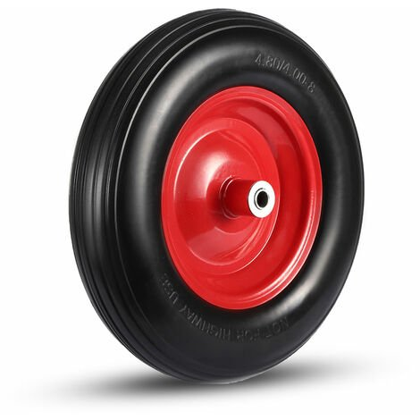 MAXCRAFT Schubkarrenrad mit Achse aus Vollgummi - Schwarz/Rot