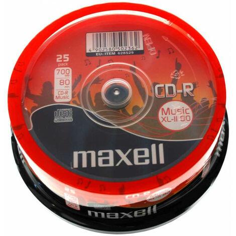 Maxell CD-R Audio Music XL II, 80min, 25 pièces en cake box (628529)