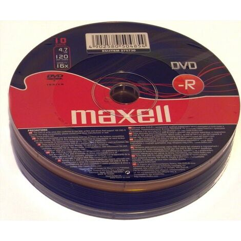 Maxell DVD-R 16x, 10 pièces en spindle (275730)