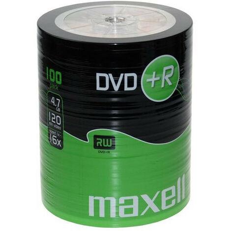 Maxell DVD+R 16x certifié, 100 pièces en shrink (275737)