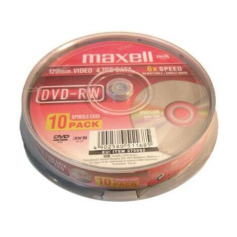 Maxell DVD-RW 6x certifié, 10 pièces en cakebox (275892)