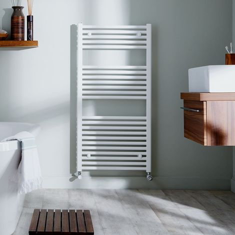 MaxHeat Trade Straight Heated Towel Rail - 1200mm High x 500mm Wide - White