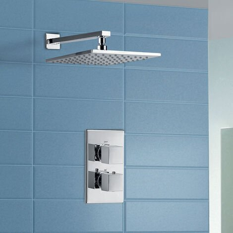 Maxi Bathroom Concealed Square Thermostatic Shower Mixer Valve Tap Chrome