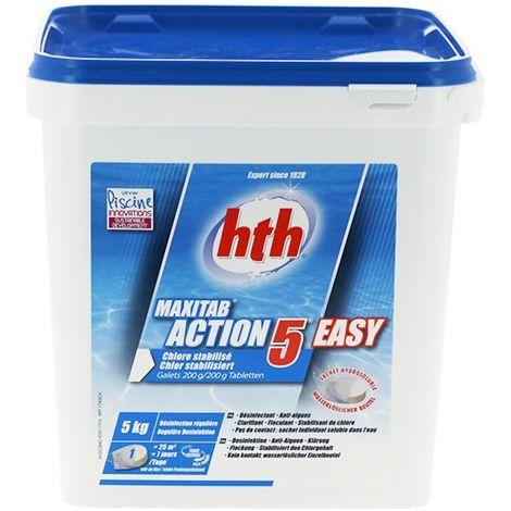 Maxitab Action 5 Easy - Galet 200 g - 5 kg de HTH - Produits chimiques