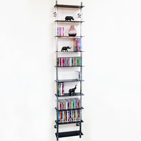 MAXWELL - Wall Mounted 10 Tier Glass 300 CD / 200 DVD / Blu-ray Storage Shelf - Black