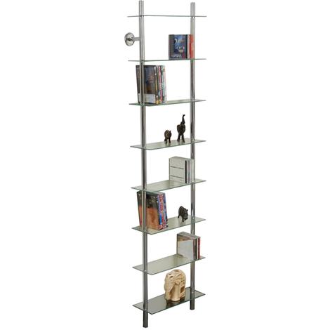 MAXWELL - Wall Mounted Glass 240 CD / 160 DVD / Bathroom Storage Shelf - Clear