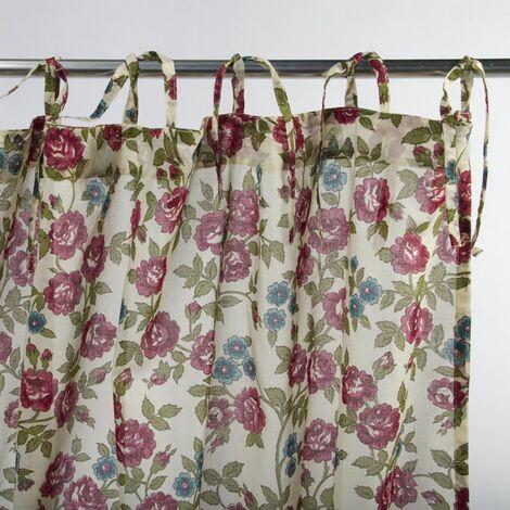 MAYA - Rideau à motifs floraux écru 110x250 - Beige