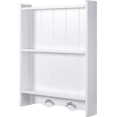 Maya White Wall-mounted Bathroom Storage Shelf Cabinet // Tongue and Groove Style // 3 Tiers and 2 Hanging Pegs