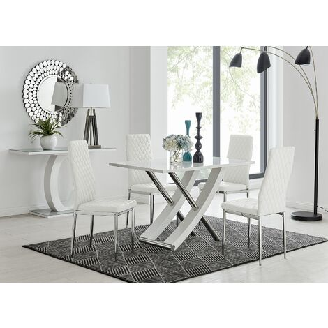 Mayfair 4 White High Gloss And Stainless Steel Dining Table And 4 Milan Chairs Set